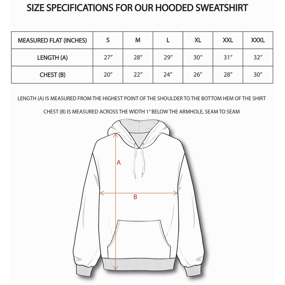 Hooded Sweatshirt Size Guide